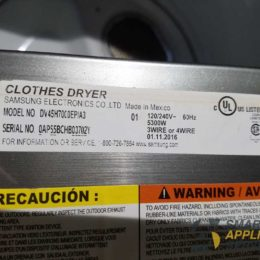 Loud noise during drying Samsung Dryer